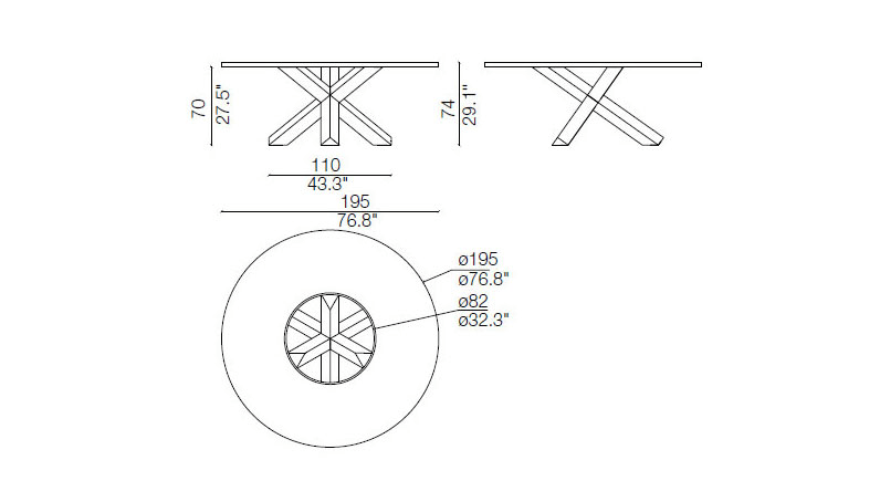 cassina pantheon table dimensions