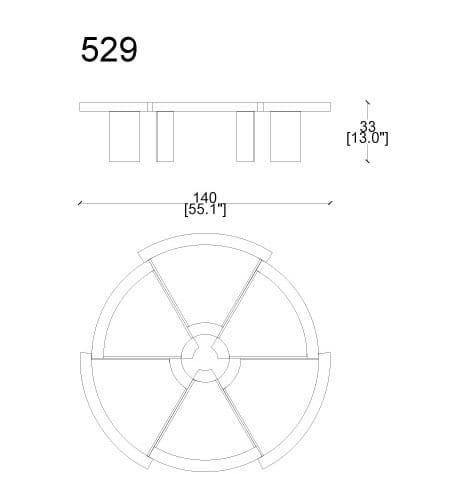 cassina rio coffee table dimensions