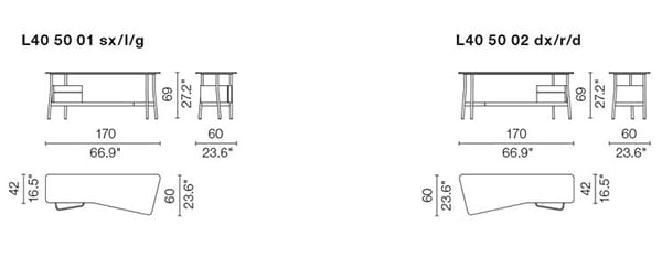 cassina l40 sled desk dimensions