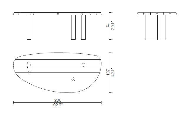 table en forme libre tavolo cassina dimesioni