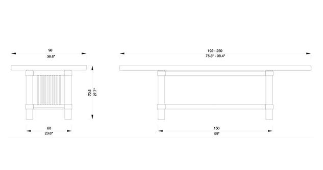 taliesin 2 tavolo cassina dimensioni