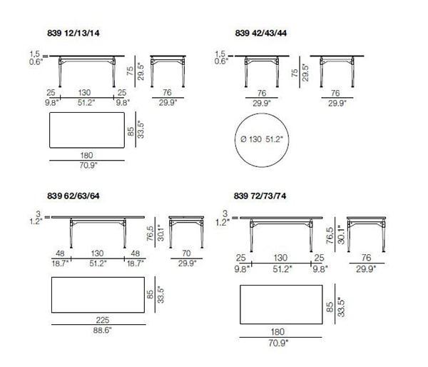 cassina tl3 table dimensions