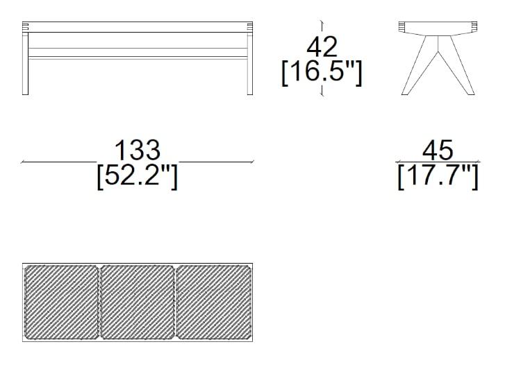 cassina civil bench dimensions