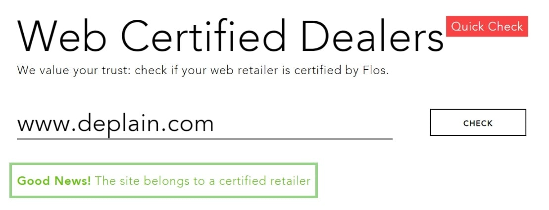 Deplain.com is a Flos Certified Retailer