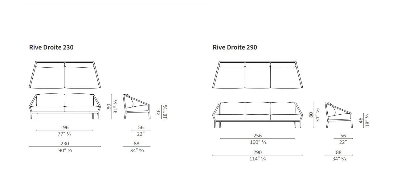rive droite sofa size