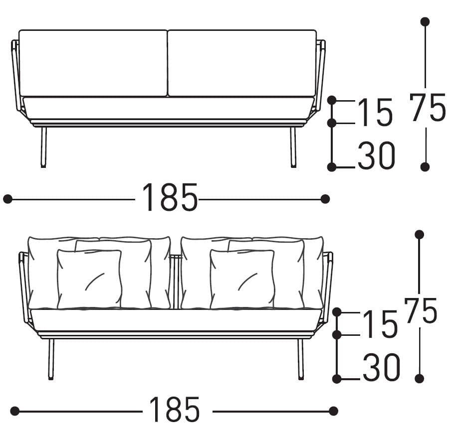 varaschin babylon sofa dimensions