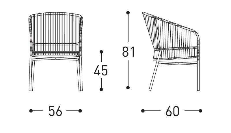 Varaschin cricket armchair dimensions