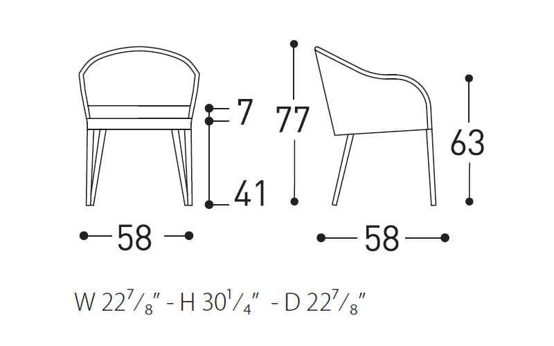 varaschin saia armchair dimensions