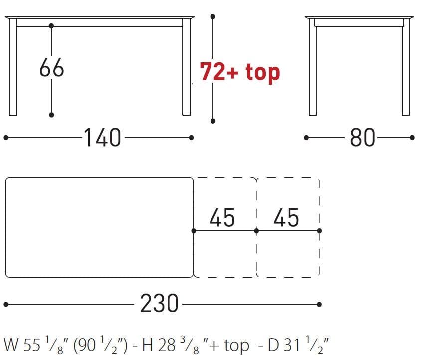 Varaschin System table dimension
