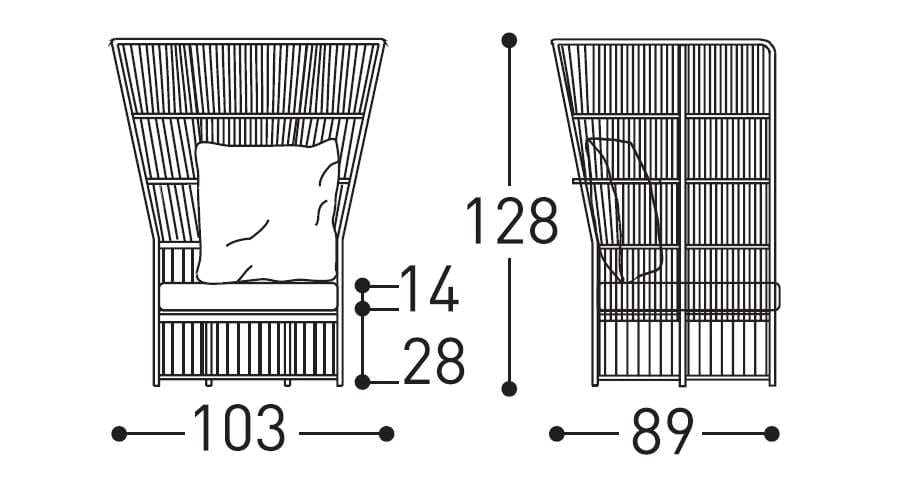 varaschin tibidabo high armchair dimensions