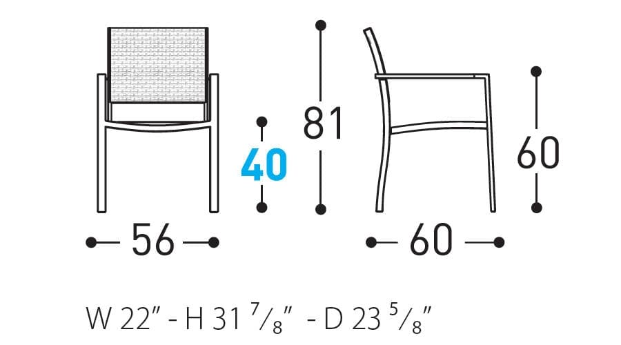 victor armchair dimensions