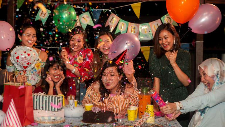 ladies celebrating a friend's birthday