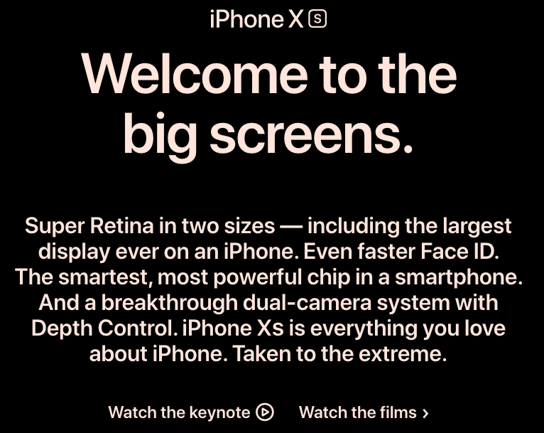Screenshot of Apple's website