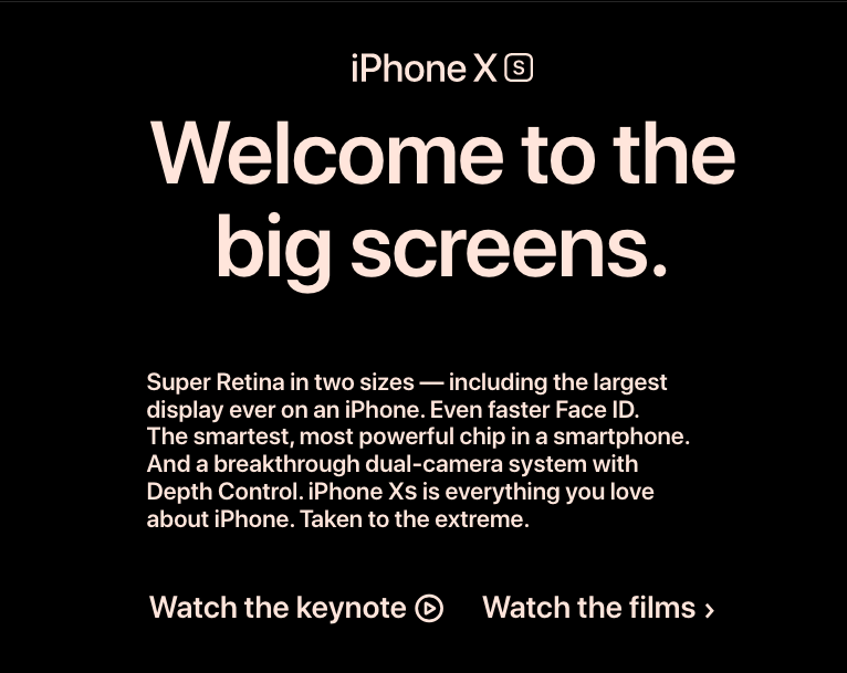 Apple's website with text left aligned