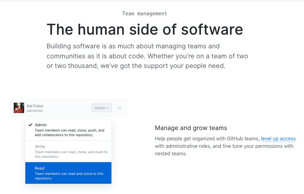 Github's website with text left aligned