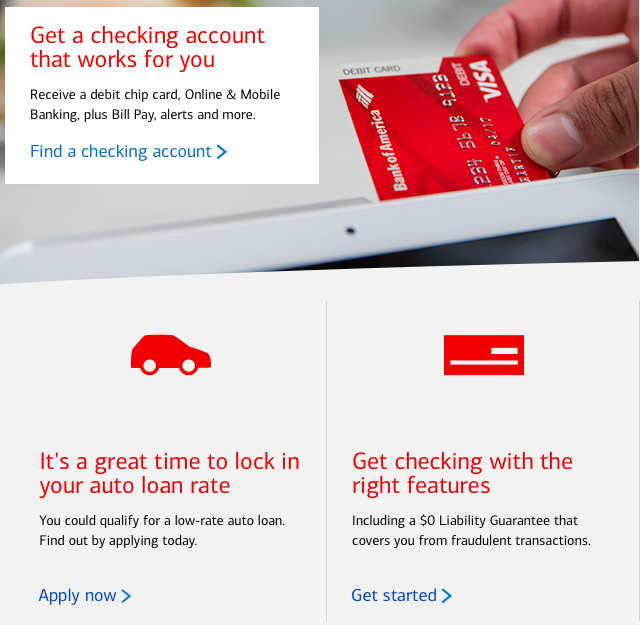 Screenshot of Bank of America's website