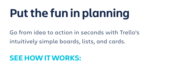 Trello's website with text left aligned