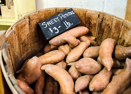 Credit:Sweet Potatoes in wooden barrel with price;sdnet01 at Pixabay.com