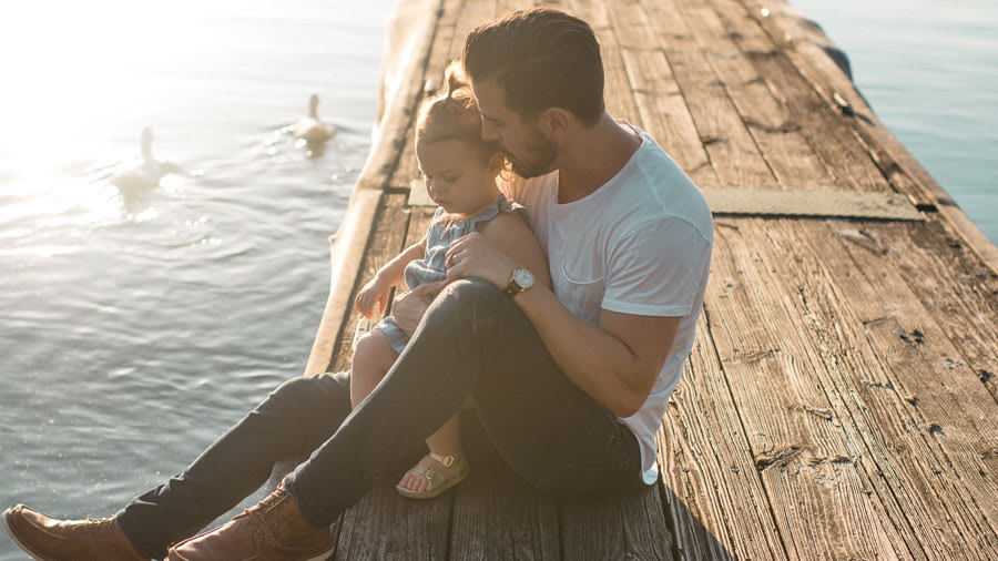 Father with child with eczema