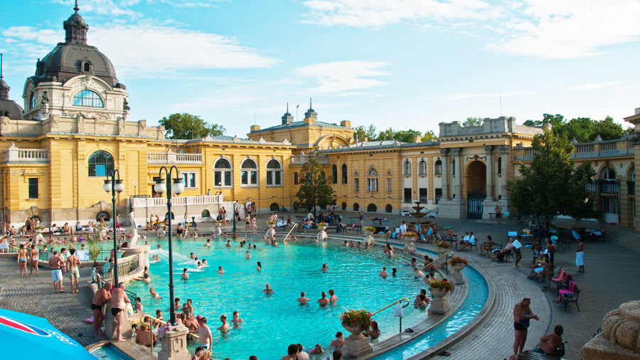 Thermal bath in Budapest full of many people