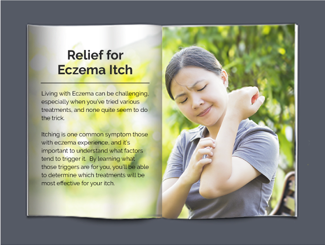 Eczema book with an intro to eczema and a brown haired lady looking at her skin