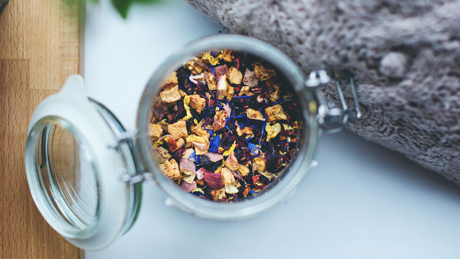 potpourri of dried tea leaves and herbs
