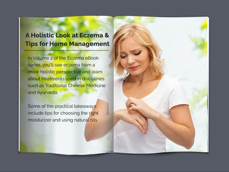 Eczema book with words and a blonde lady looking at her skin