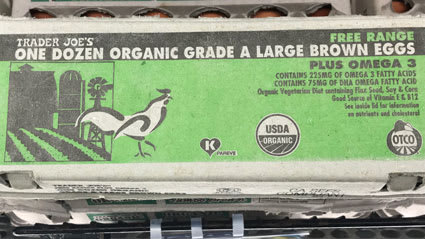 Organic label on eggs