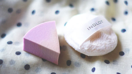 used makeup sponge closeup