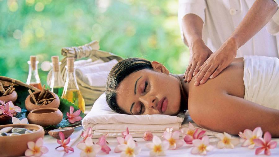 woman getting massage for eczema
