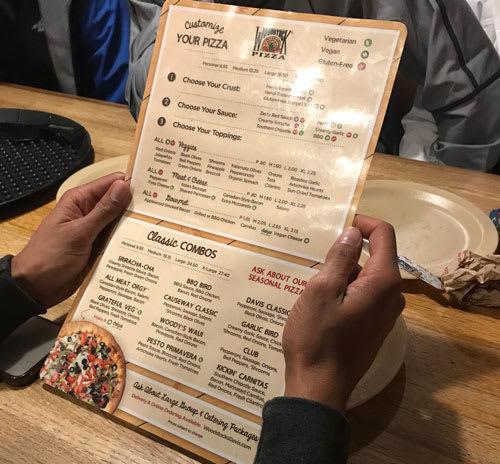 Restaurant menu items