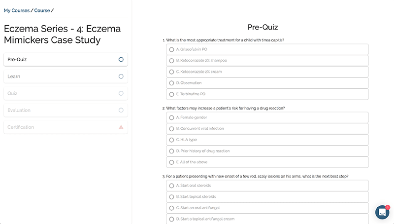 image of a quiz screenshot taken from learnskin