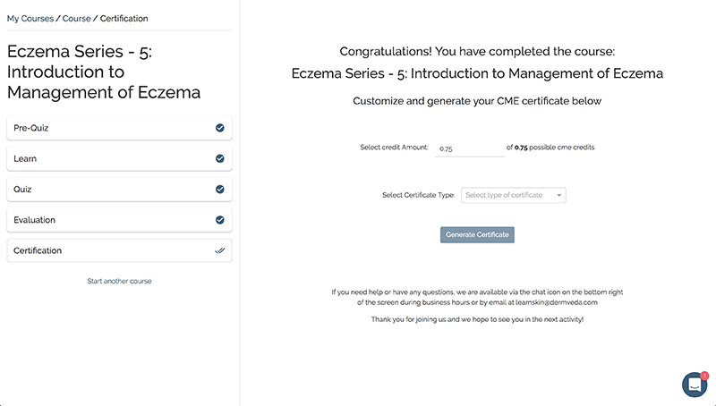 screenshot of certificate selection screen in learnskin