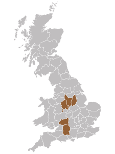 UK map of Derventio supported housing locations in the Midlands and South West