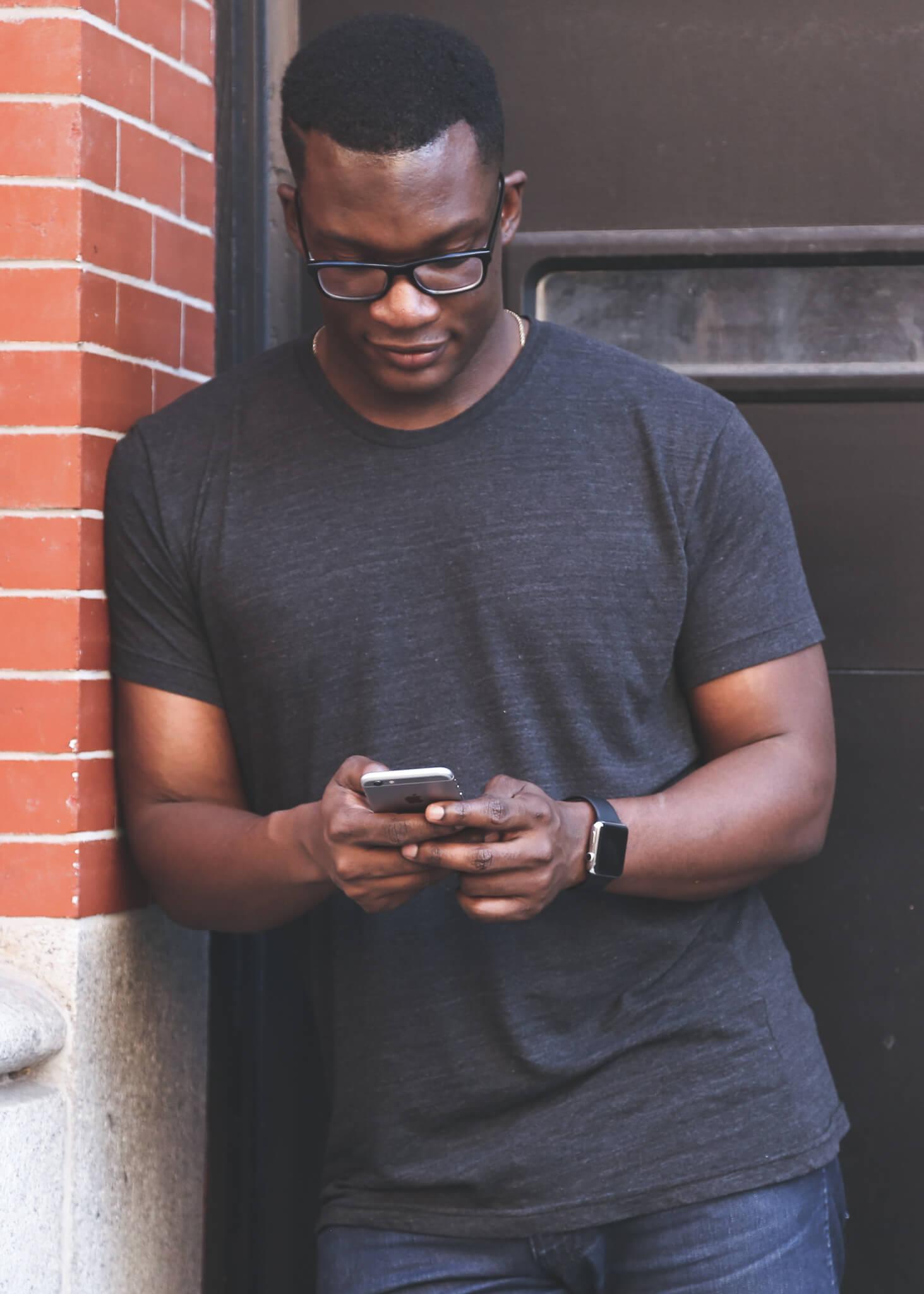 A Derventio resident sending a text message