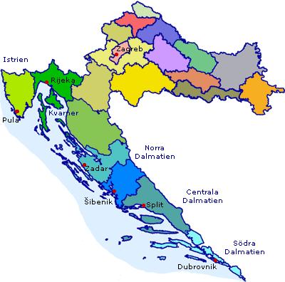 Karta över Kroatien