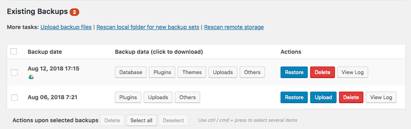 Automatic WordPress Backup Using UpdraftPlus