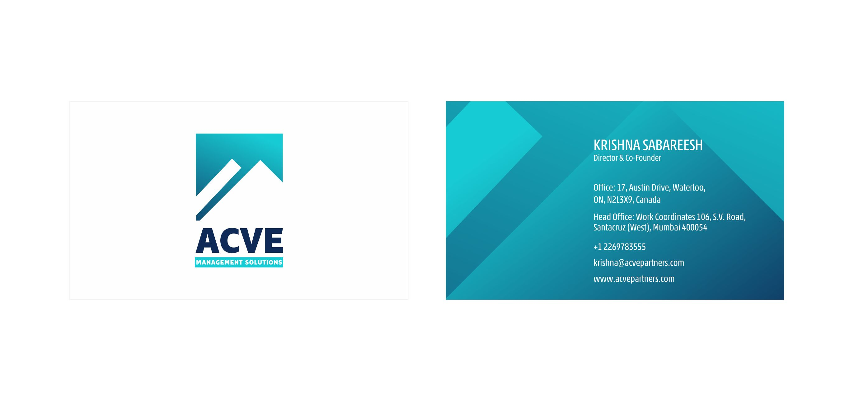 Visiting Card Design options Blue Gradients | Acve Management Solutions Mumbai