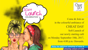 Read more about the article Cafe Invitation Designing – Cheat Day Cafe, Pune (opening invitation designs) Soft Launch