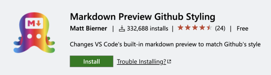 Markdown Preview GitHub Styling