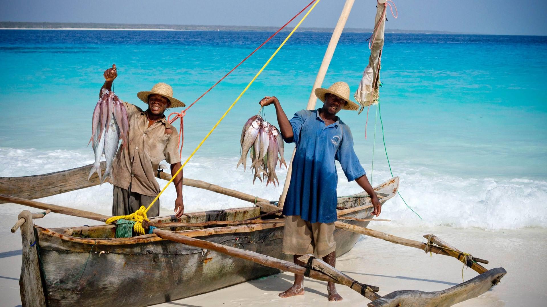 Local fishermen at Mnemba