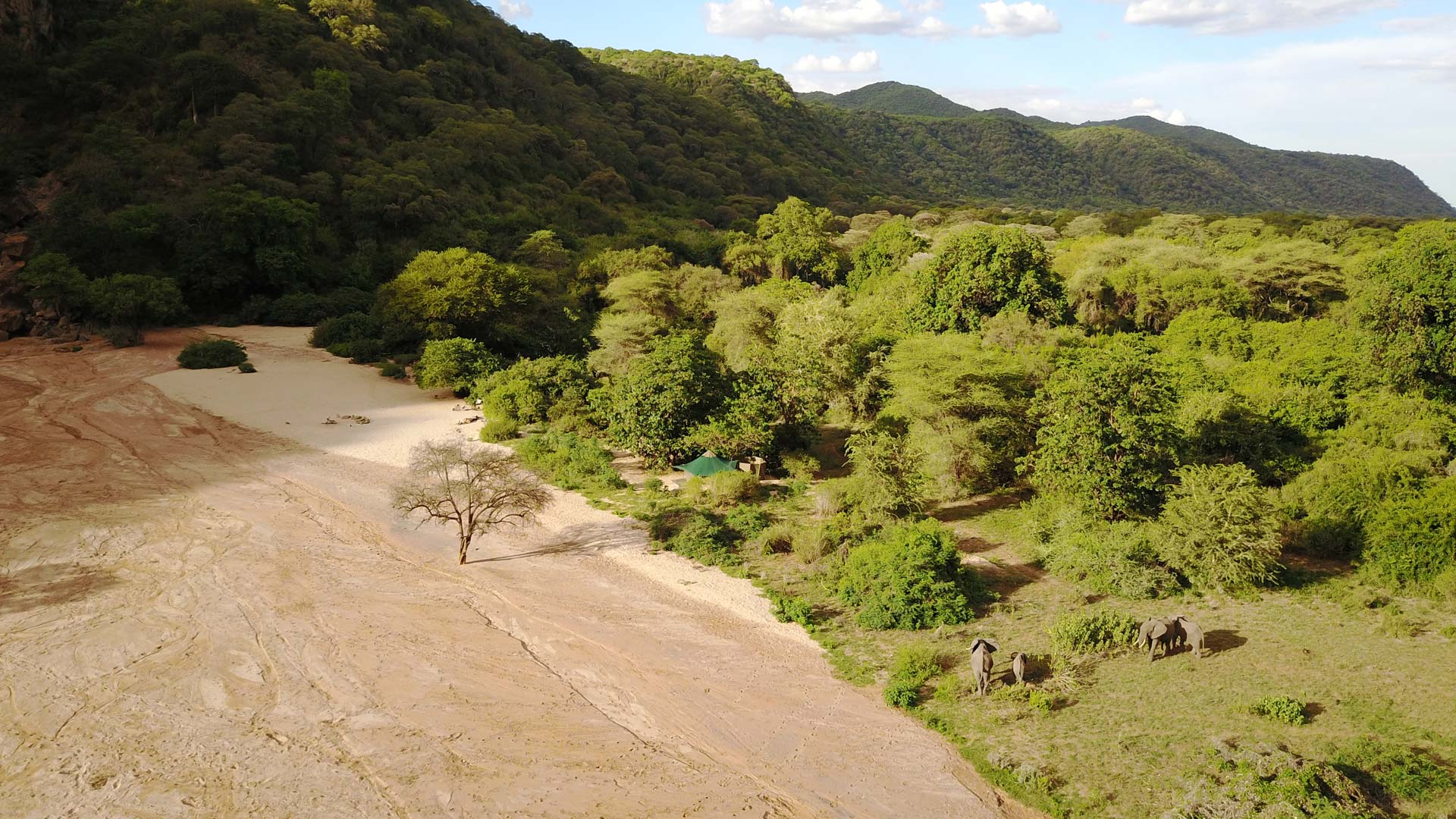 Arial view of Manyara Green Camp