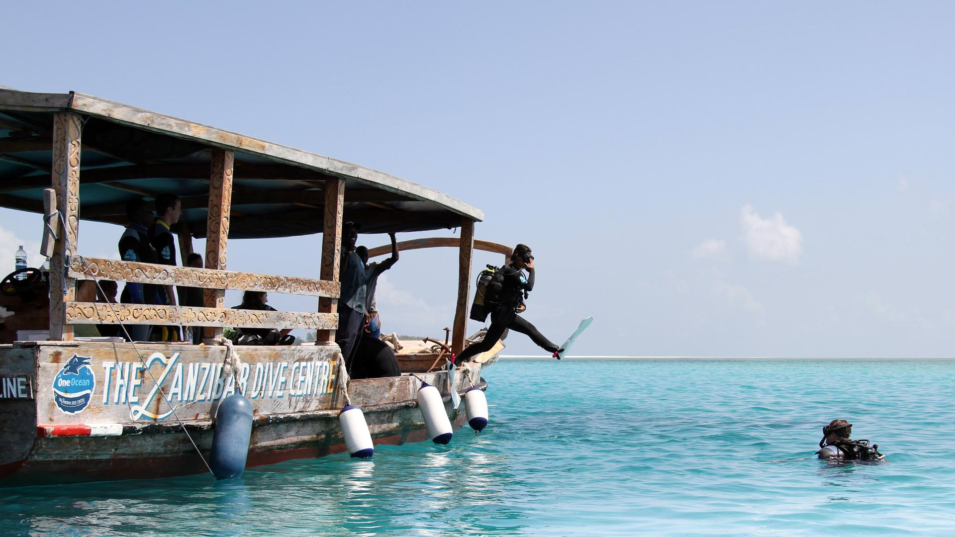 Divers and dhow
