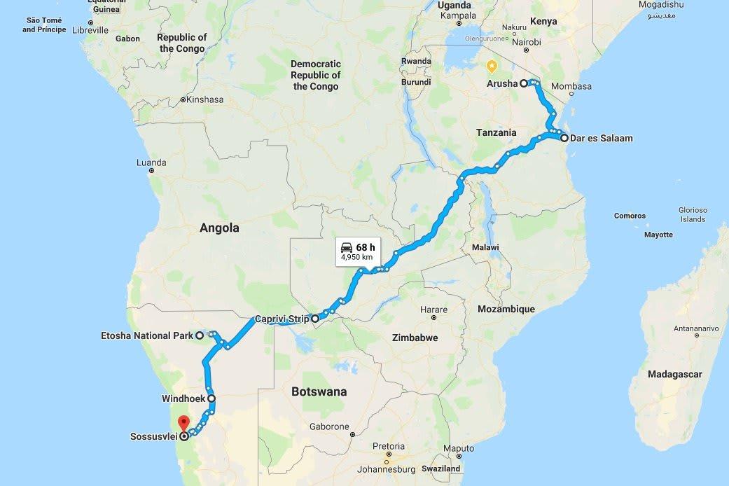 Namibia Tour Map