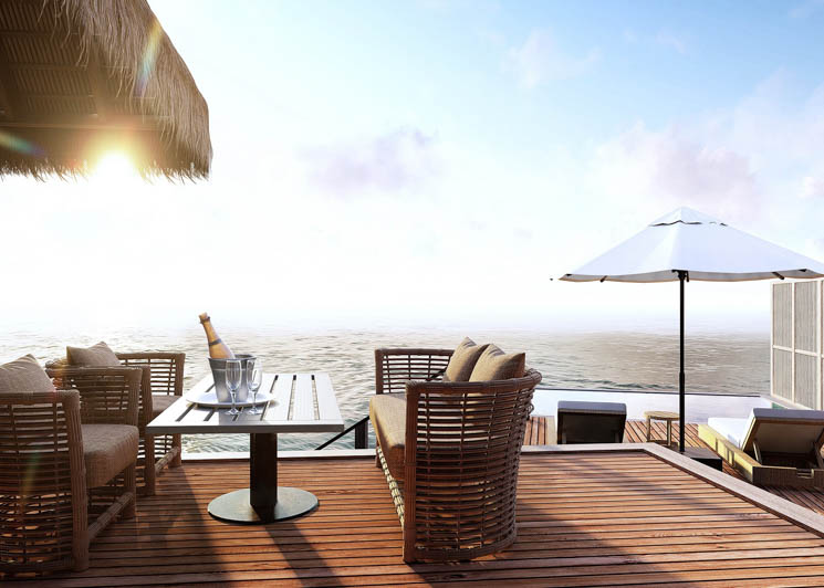 Grand water villa deck