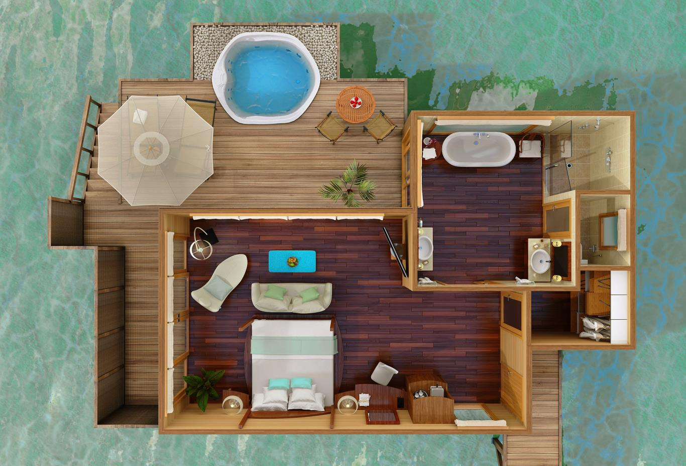 Deluxe Water Villa Floorplan