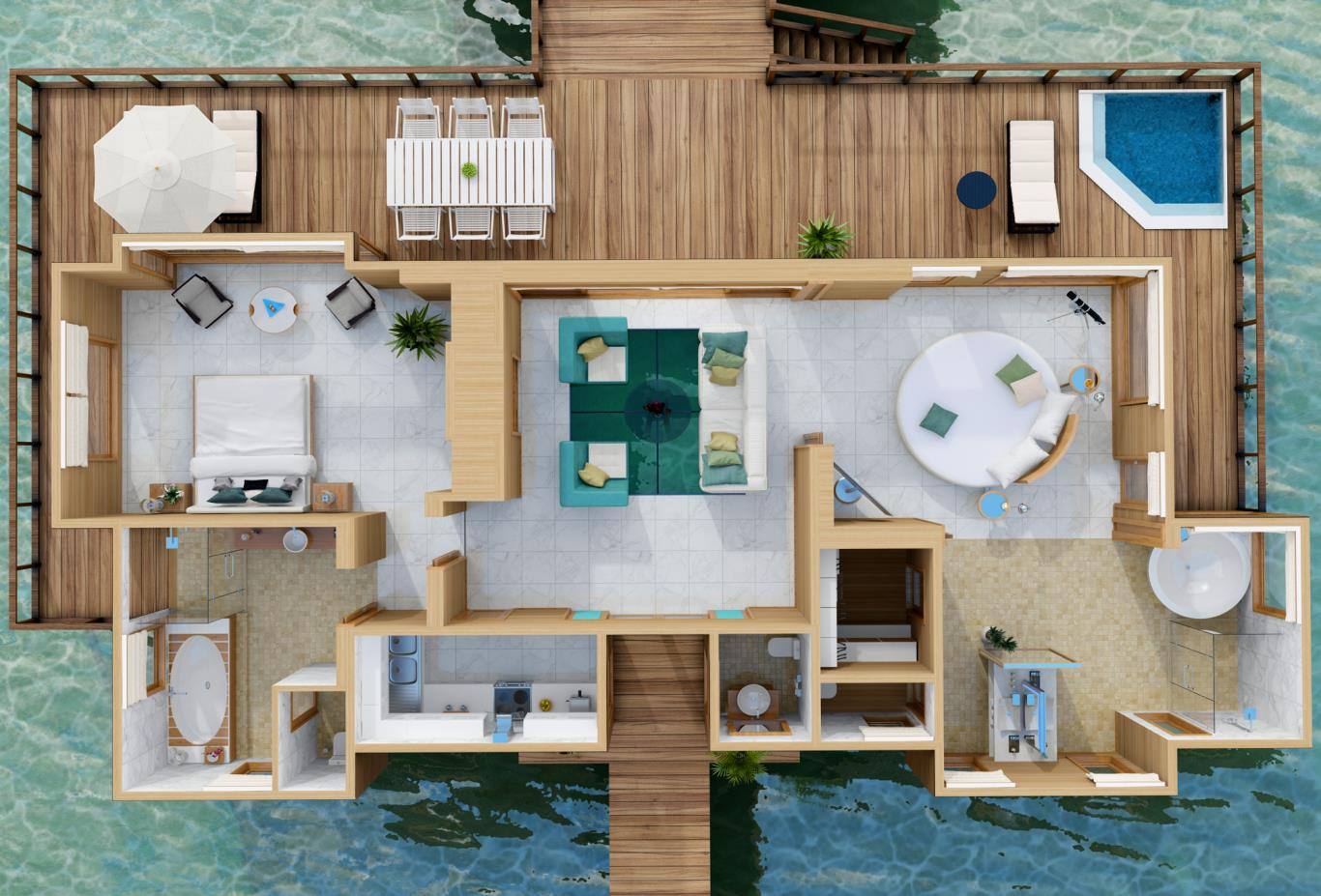 Sunset Water Villa Floorplan