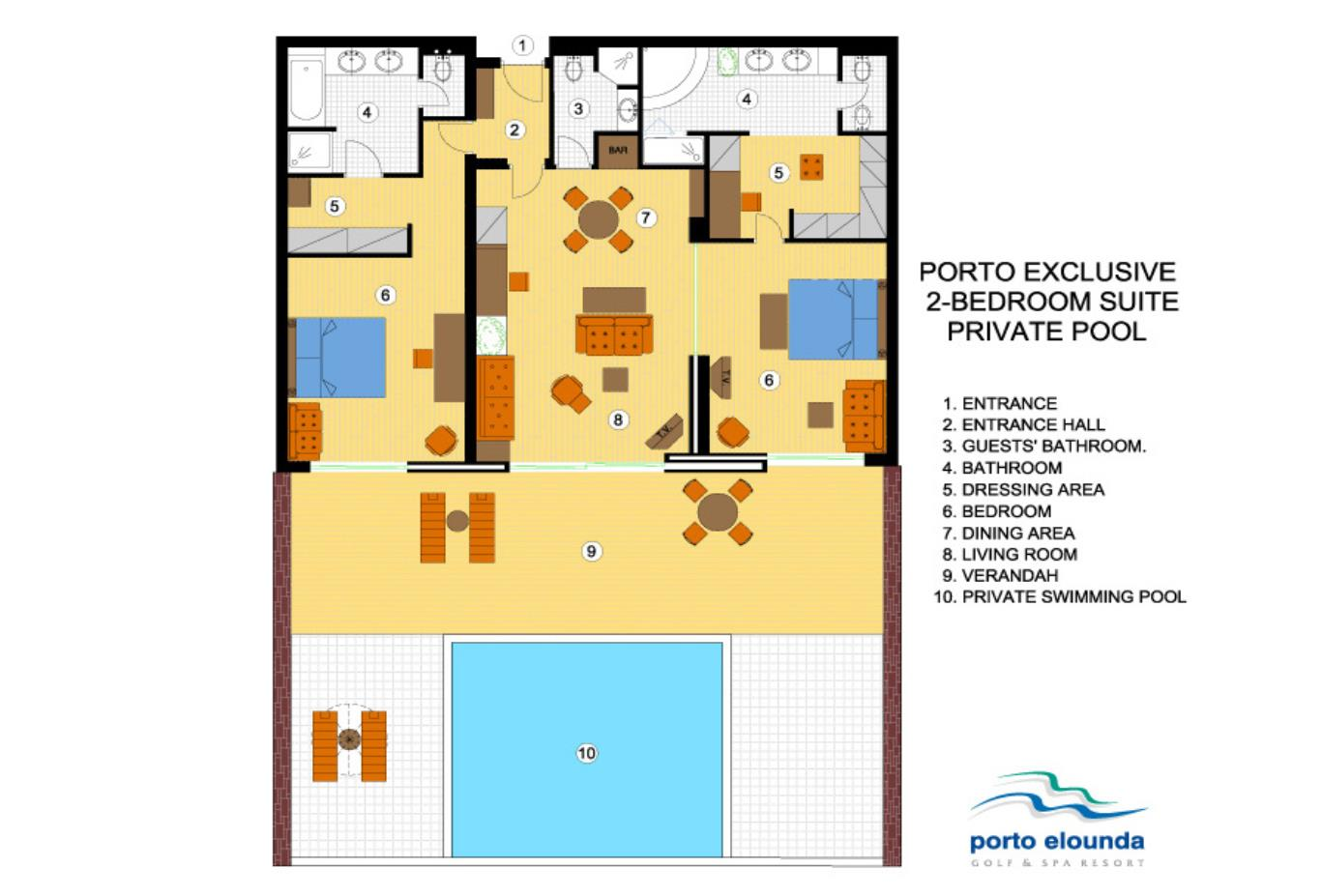 Porto Exclusive 2 Bed Suite Individual Pool floorplan