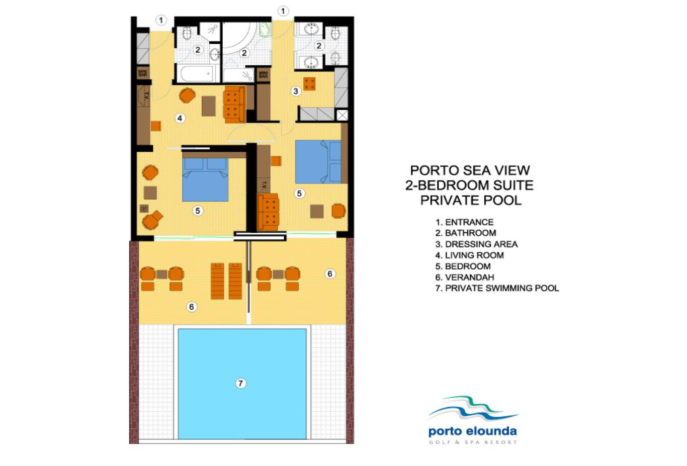 Porto Sea View 2 Bed Suite Individual pool floorplan