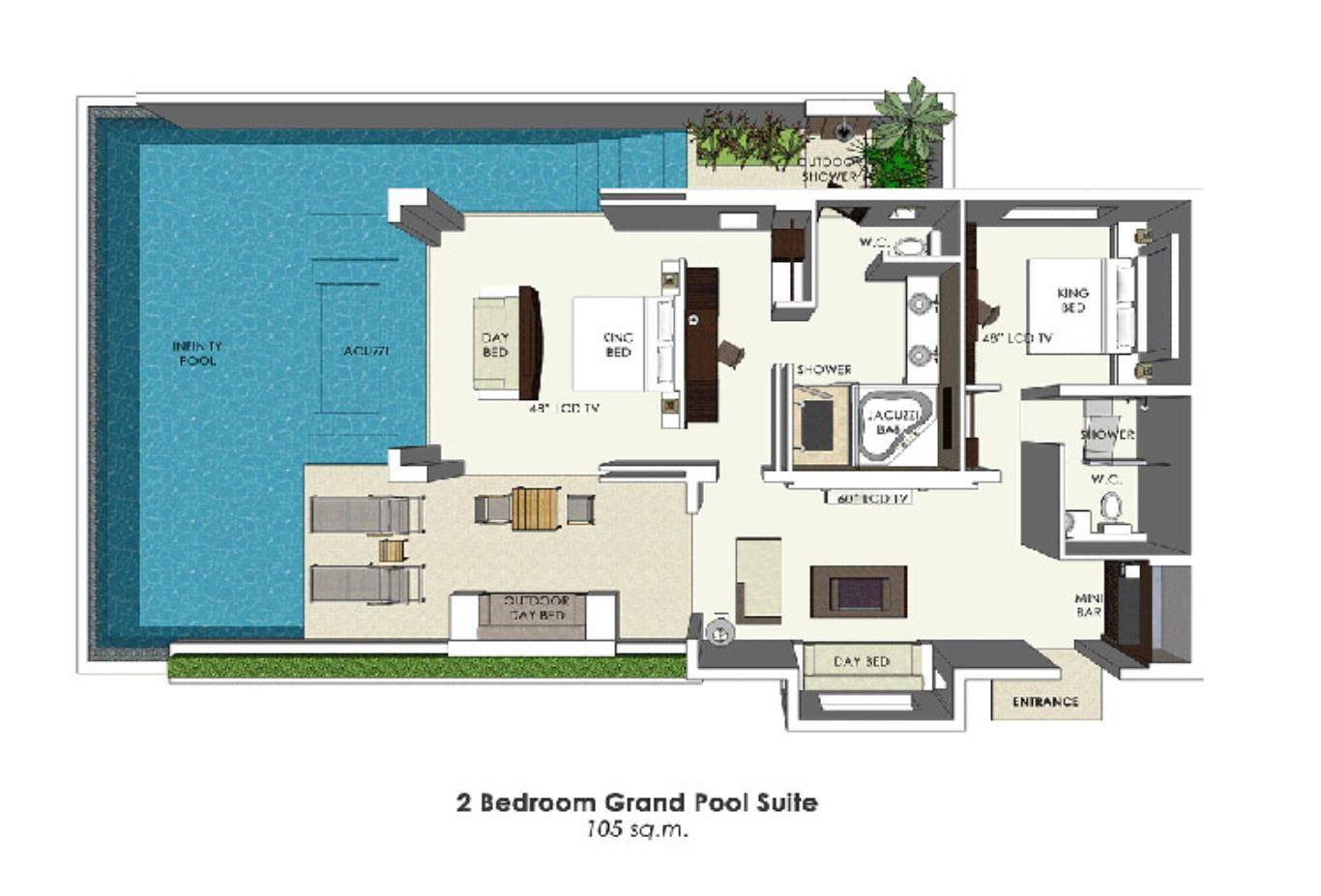 2 Bedroom Grand Pool Suite floorplan